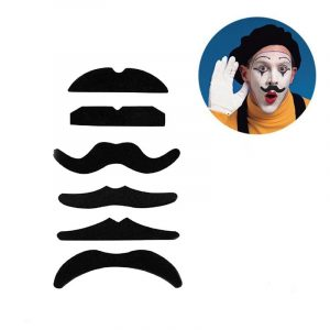12Pcs Halloween Fake Self-Adhesive Stick-On Mustache Disguise Novelty Toys Set For Halloween Masquerade Party
