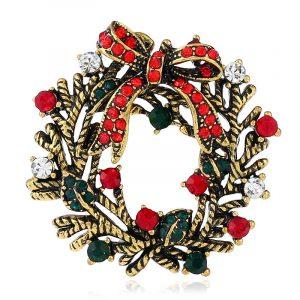 Christmas Wreath Festive Brooch Pin Gift Shirt Collar Brooch Sliver & Gold