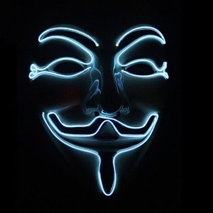 Halloween V-Vendetta Mask LED Luminous Flashing Face Mask Party Masks Light Up Dance Halloween Cosplay