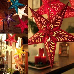 45cm Christmas Laser Paper Star Hanging Decoration Folding Handmade 3D Pentagram Christmas Decor
