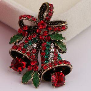 Christmas Retro Bell Festlig Brosch Pin Gift Shirt Krage Brosch Silver
