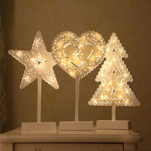 Christmas LED Wooden Table Mini Night Light Desk Lamp Wedding Bedroom Christmas Decor Gifts