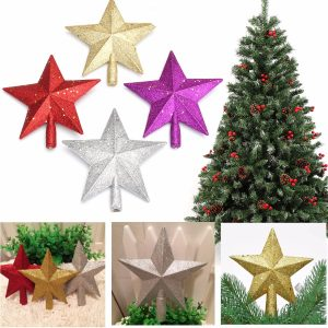 3D Shinny Glitter Star Christmas Tree Topper Xmas Decoration