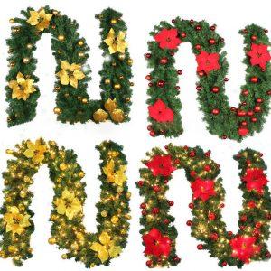 2.7M DIY LED-lampor Christmas Garland PVC Rotting Ornament Merry Christmas Rotting Cane Krans