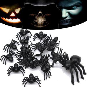 20pcs Halloween Plastic Spiders Spider Funny Joking Toy Decoration