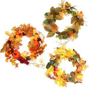 Thanksgiving Fall Harvest Krans Maple Leaf Leaves Krans Garland med Light Strip Home Decorations