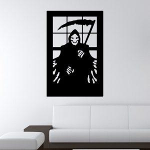 Halloween 3D tapeter Death Sickle Creative Horror PVC Självhäftande bakgrund Väggdekor Miljöskydd Halloween Väggklistermärke Fönster Heminredning Dekor Dekor