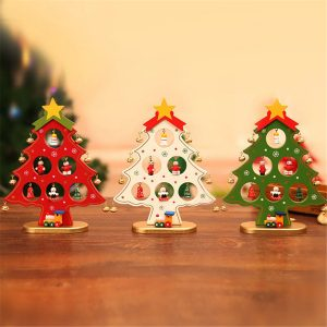Träjulornament Festival Party Tree DIY Home Table Decorations