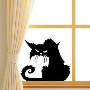 Creative Halloween Black Cat PVC Waterproof Wall Sticker Removable Vinyl Art Mural Decoration Stickers Environmental Protection Halloween Wall Sticker Window Home Decoration Decal Decor