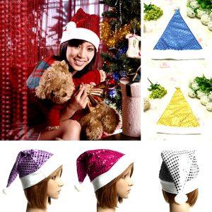Christmas Decorations Ornaments Santa Claus Hats Paillette Caps