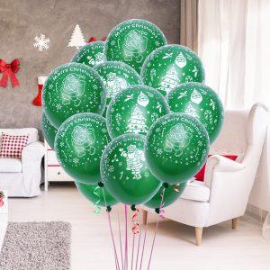 100 st 12 tums grön färg julfest ballong inredning jultomten Latex ballonger