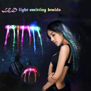 12 st. Christmas Flash Glow LED-fläta Hårnål Nyhetsdekoration för hårets hårförlängning med optisk fiber