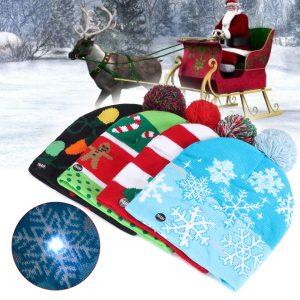 Christmas LED Light Winter Beanie Cap Santa Claus Snowflake Knitted Hat Decor