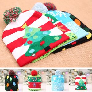 Christmas LED Light Winter Warm Beanie Cap Santa Claus Snowflake Stickad Hat