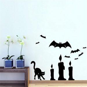 Halloween Bat Cat Candle DIY Väggklistermärke Borttagbara PVC-tapeter Vinyl Art Decal Decor Vattentäta klistermärken Hushållshemmet Wall Sticker Poster Väggdekor Dekoration för sovrum Vardagsrum