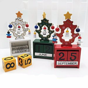 Wooden Christmas Tree Calendar Table Desk Home Office Ornament Christmas Decoration Gift
