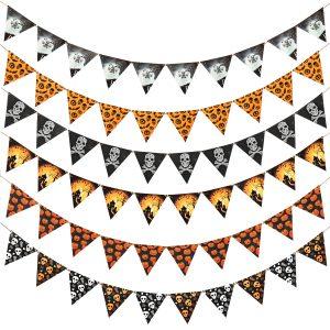 Halloween triangel flaggor String hängande Bat Pumpkin Skull Banner Party Decorations Set