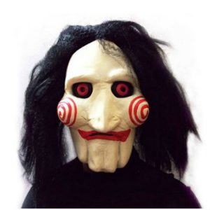 Jigsaw Creepy Scary Halloween Clown Mask Rubber Latex Saw Horror Movie Cosplay