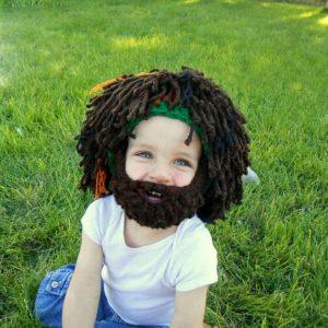 Halloween skägg hårform ylle stickad hatt spoof whiskers hatt vuxna barn