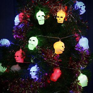 Halloween LED String Light Batteridrivna Skull Decor 10-40 LEDS