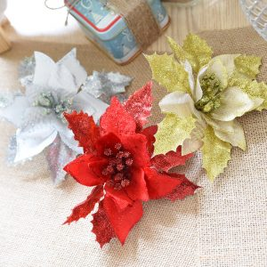 Christmas Glitter Hollow Flower Decoration Artificial Flowers for Christmas Trees New Year