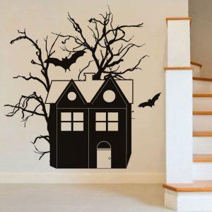 Creative Halloween Haunted House Bat PVC Vattentät väggklistermärke Avtagbar Vinyl Konst Väggdekor Dekoration Klistermärken Miljöskydd Halloween Väggklistermärke Fönster Heminredning Dekaler Dekor