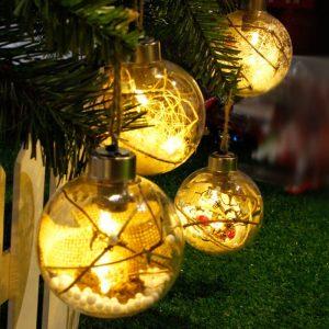 Christmas LED Lights Christmas Tree Bulb Ball Light Hang Ornament Home Festival Decor