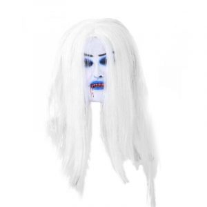 White Hair Bleeding Mask Ghost Festival Halloween Mask Masquerade Mask Party Supplies Props Halloween Masquerade Masks Latex Terror Wigs Grimace Simulation White Hair Bleed Mask