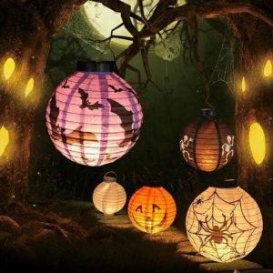 Halloween LED-papper Lykta Pumpa Spindermattljus Hängande lampa Props Dekoration Festtillbehör