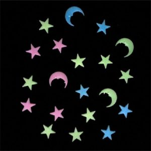 20Pcs Moon Stars Noctilucence Wall Decal Colorful Fluorescent Home Kid Room Decor Gift