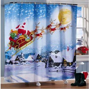 180x180cm Juljultomten ren duschgardiner för badrum med 12 krokar