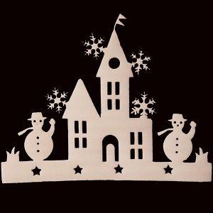 2 delar Små hus fönster dekaler Julgran prydnad snögubbe klistermärke dekoration