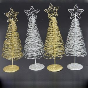 Christmas 2017 Mini Iron Christmas Tree Gold Silver Ornament Table Desk Decoration Christmas Gifts