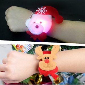 Christmas Clap LED Light Headbands Ring  Band Slap Bracelet Christmas Party Funny Santa Christmas Gift