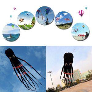 3D 26ft 8 m enkellinje svart bläckfisk POWER Sport Enorm mjuk drake utomhusleksak