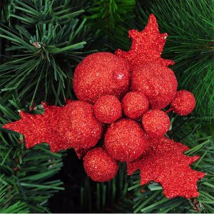 Christmas Xmas Glitter Holly Leaves Berries Christmas Tree Decoration