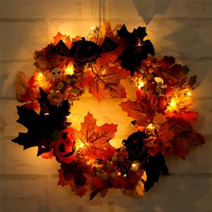 20LED Halloween Party Wreath Garland Light Home Wall Hanging Decorations Ornament