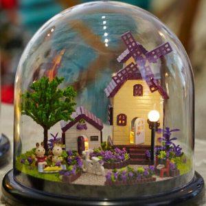 1:32 Cuteroom Dollhouse Miniature Provence House DIY Kit med lock och LED