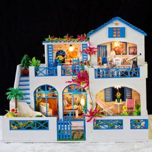 iiecreate K-006 Meteor Garden DIY Doll house With Music Light Cover Miniature Model Doll House