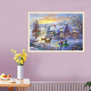5D Diamond Painting Christmas Deer Embroidery Home Full Drill Cross Stitch Kits