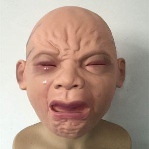 Halloween Party Baby Crying Latex Mask Haunted House Scary Cry Prop Funny New