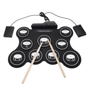 iword G4009 9 kuddar Elektronisk trumma Bärbar upprullningssats USB MIDI-trumma med trumpinnar Fotpedal för nybörjare