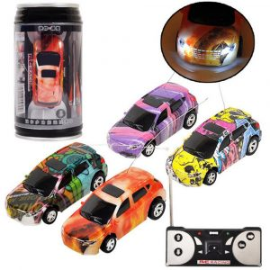 1PC Mini Coke Rc Car W / LED Light Radio Control Micro Racing Toy Slumpmässig färg