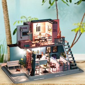 iiecreate K-034 Pink Cafe House 30*19*22CM DIY Doll House With Furniture Light Cover Gift Toy