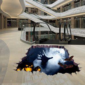 Halloween fruktansvärda 3D-golvklistermärket Sovrum Vardagsrum Hjärtat husdekor Väggklistermärken Spökehand genom golvet