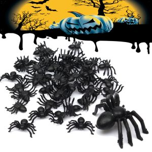 50pcs Halloween Plastic Spiders Spider Funny Joking Toy Decoration