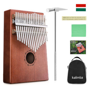 NASUM 17 Keys Kalimbas Thumb Finger Piano for Children Gift Mahogany Body Musical Instrument with Adjusting Hammer and Teaching Material