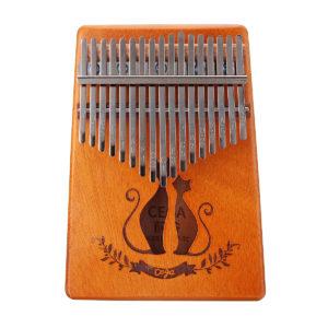 17 Key Mahogany Kalimba Veneer Mini Thumb Piano Keyboard Carved Tone Instrument