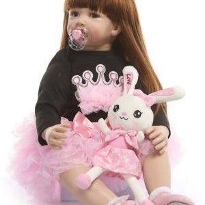 60 CM livliga babydockor, babydockor av silikon som riktiga med fullviktad kropp, handgjorda söta flickadockor med kläder svart t-shirt med rosa bubbla klänning