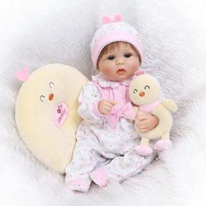 Reborn Baby Dolls 17 Inch Soft Silicone Lifelike Dolls Babies Handgjord Reborn Baby Happy Girl Silikon Vinyl Realistisk Docka